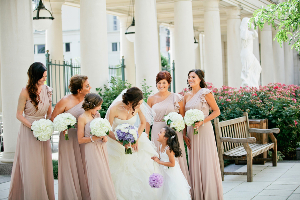 One Shoulder Taupe Bridesmaids Dresses