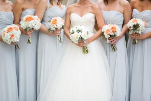Pale Blue Bridesmaids Peach Bouquets
