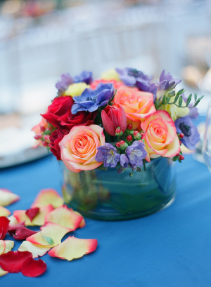 Peach Rose and African Violet Arrangement