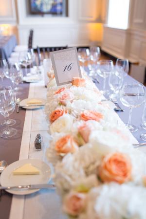 Peach and Cream Rose Reception Centerpieces