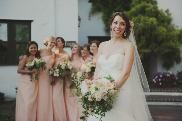 Peach and Cream Wildflower Style Bouquets