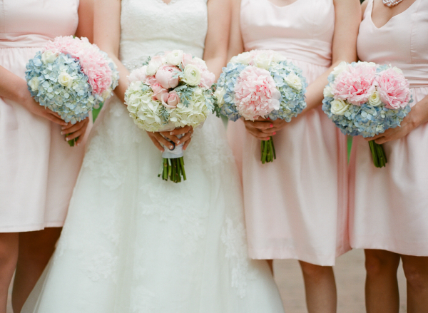 Pink Blue and Cream Hydrangea and Rose Bouquets