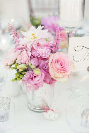 Pink Flowers in Mercury Glass Vase