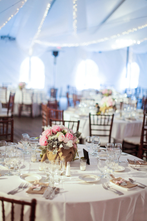 Pink and Burlap Decor at Tent Reception