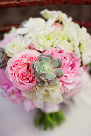 Pink and Cream Flowers and Succulents in Bouquet