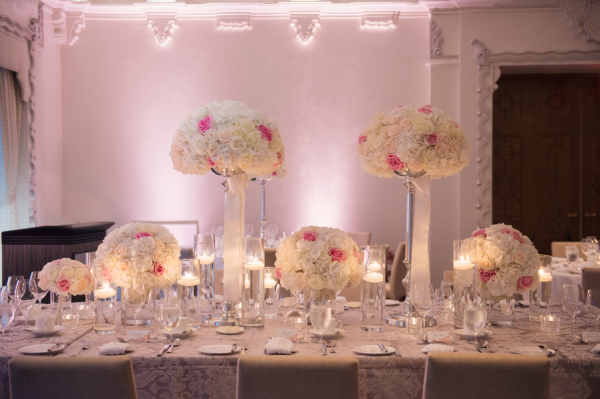 Pink and White Ballroom Wedding