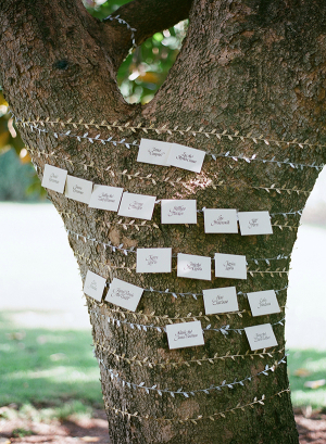 Reception Place Cards Wrapped Around Tree Trunk