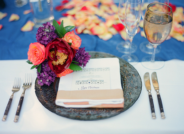 Red Purple and Blue Reception Place Setting