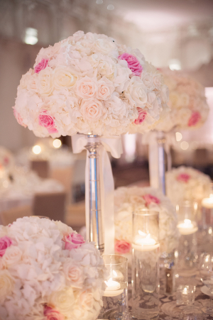 Rose and Hydrangea Reception Centerpieces