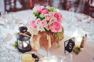 Rose and Peony Burlap Wrapped Centerpiece