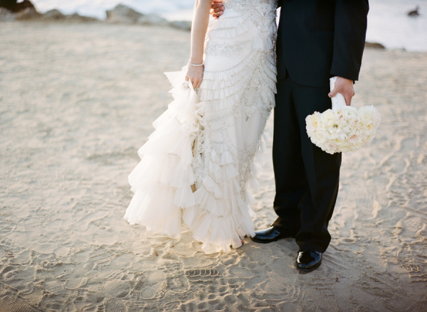 Ruffled Details on Bridal Gown
