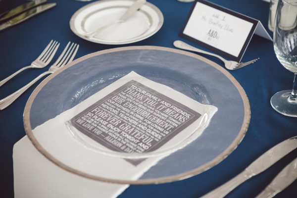 Thank You Card at Reception Place Setting
