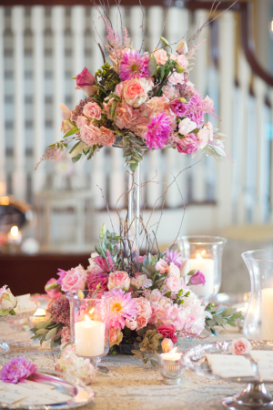 Two Tiered Floral and Curly Twig Arrangement