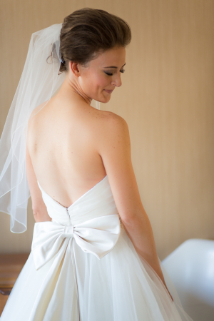 V Back Wedding Gown With Bow