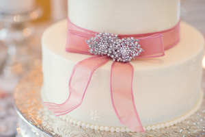 Wedding Cake with Pink Ribbon