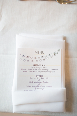 Whimsical Reception Menu Cards