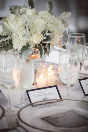 White Floral and Dusty Miller Reception Arrangement