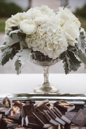 White Flowers in Silver Vase