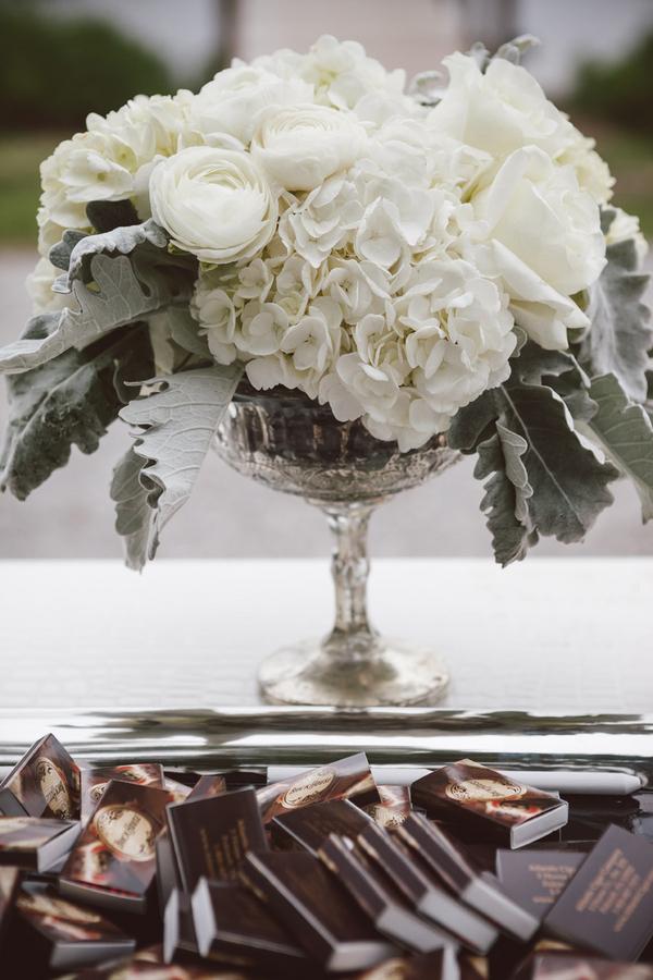 White Flowers In Silver Vase Elizabeth Anne Designs The