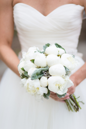 White Peony and Succulent Bouquet