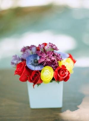 Yellow Red and Lavender Floral Arrangement