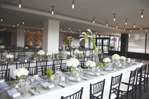 All White Flowers on Reception Tables