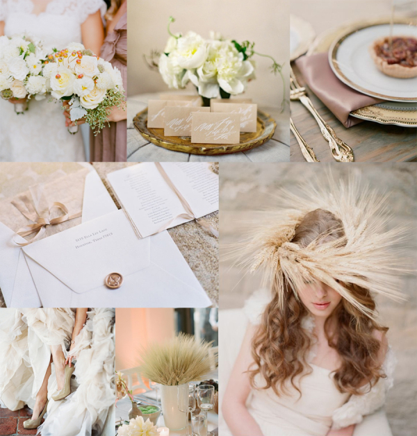 Autumn Mauve and Wheat Wedding Inspiration Board