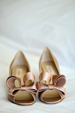 Blush Bridal Shoes With Bows