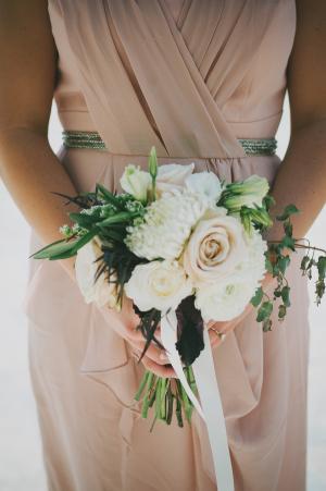 Blush Bridesmaids Dress With Beaded Waist