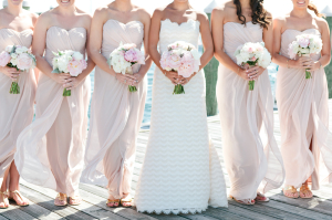 Blush Pink Strapless Bridesmaids Dresses