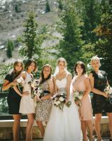 Blush and Black Bridesmaids Dresses