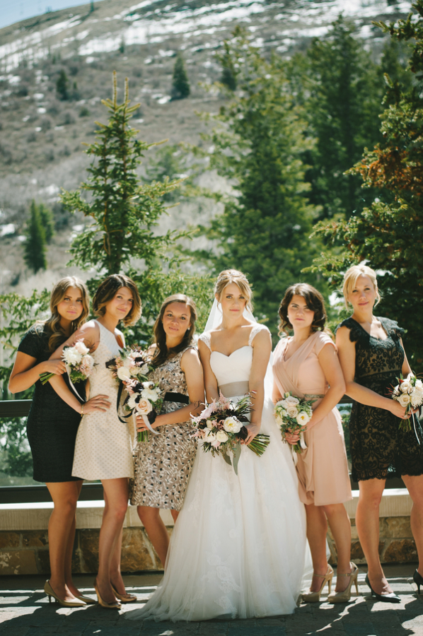 Blush and Black Bridesmaids Dresses