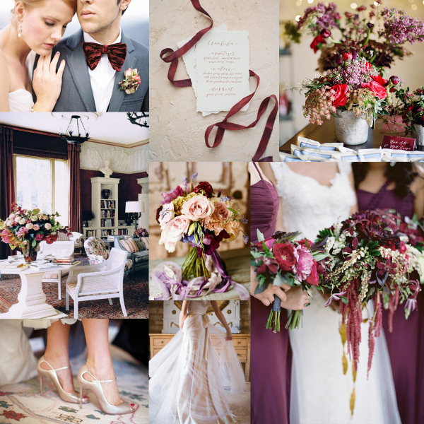 Bordeaux and Plum Wedding Colors