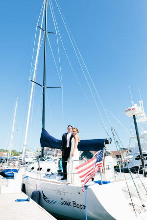 Bride and Grom on Sailboat