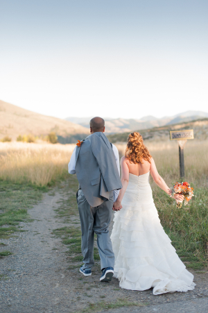 Bride and Groom Walking to Reception