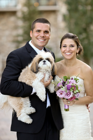 Bride and Groom With Dog in Wedding