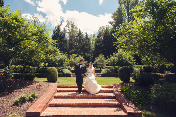 Bride and Groom in Garden From Audra Wrisley