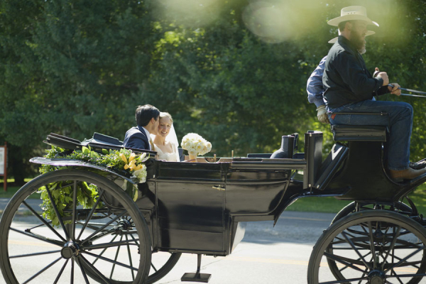 Bride and Groom in Horse Drawn Buggy