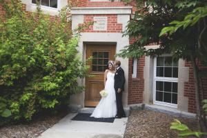 Bride and Groom in University Garden