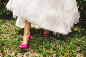 Bride in Fuchsia Shoes