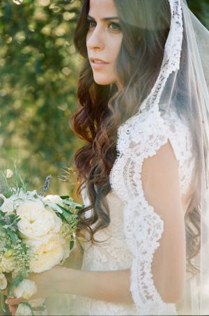 Bride in Mantilla Veil