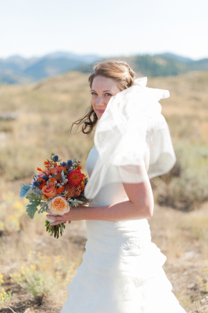 Bride with Colorful Fall Bouquet
