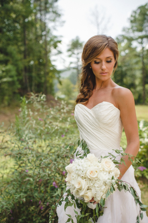 Bride with Fluffy White Bouquet