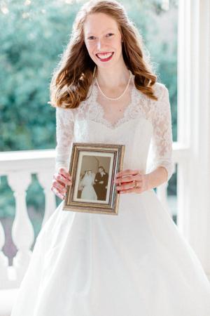 Bride with Vintage Photo