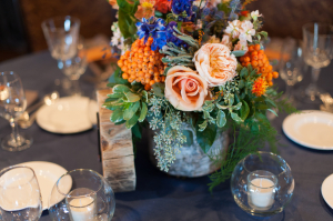 Centerpiece with Birch Bark Wrapped Vase