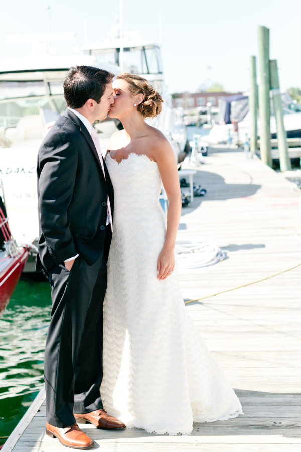 Classic New England Waterside Bride and Groom Portrait