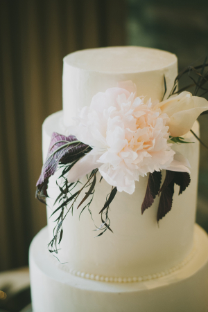 Classic Wedding Cake With Modern Florals