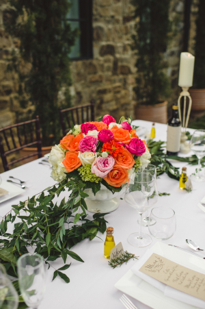 Colorful Centerpiece with Greenery Garland