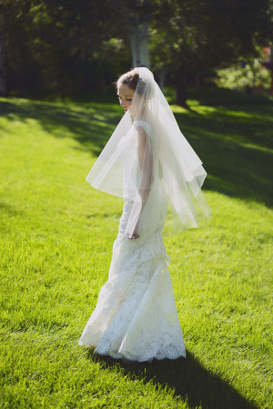 Column Style Lace Bridal Gown