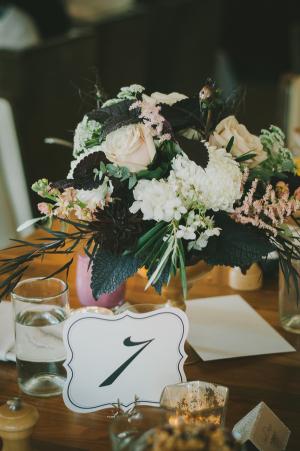 Cream Floral and Dark Foliage Reception Centerpiece